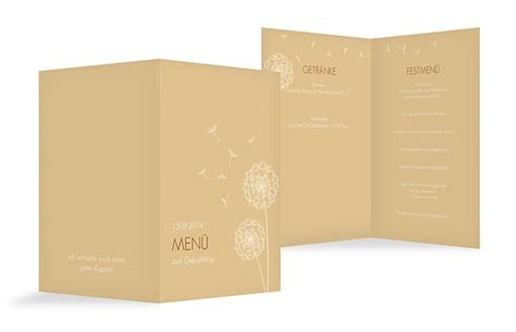 menuekarten zum geburtstag stilvolle karten   tagen