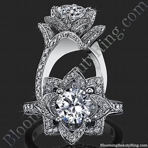 the large crimson rose flower diamond engagement ring With flower wedding rings diamond