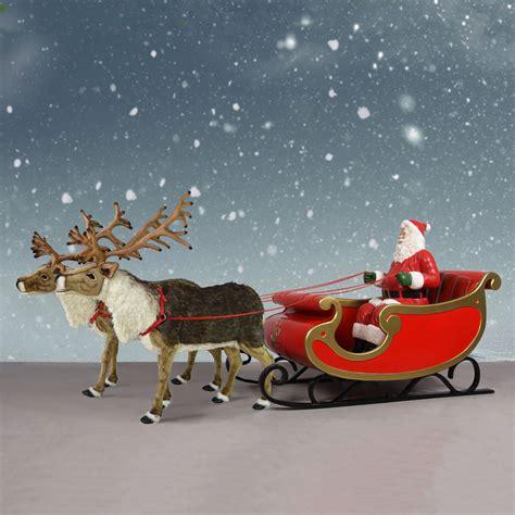 """Nordic Reindeer With Santa Sleigh  150"""" Santa Display"""