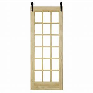 steves and sons 36 in x 96 in 18 lite unfinished pine With 96 inch barn door hardware