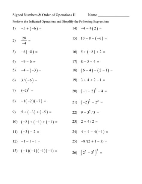 math worksheets 6th grade order of operations order of