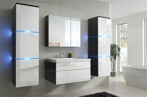 Badmöbel-set Lux New Weiß Hochglanz/schwarz