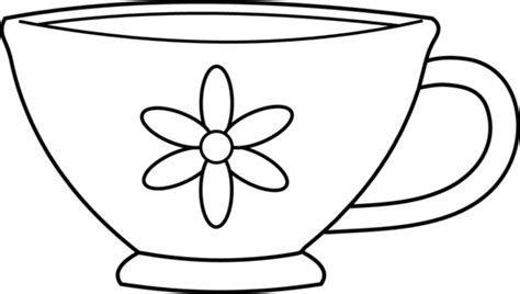 children s tea set teacup clipart black and white free clipart