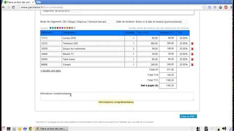 commande cuisine en ligne comment faire un bon de commande en ligne sans excel