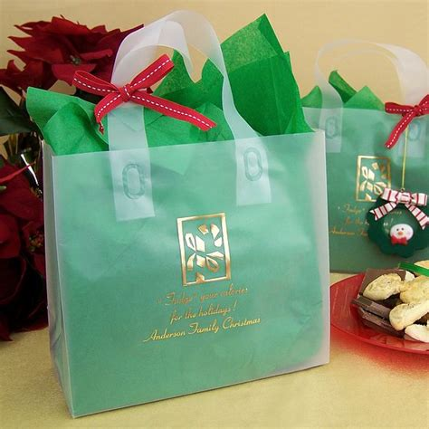 custom printed clear frosted christmas gift bags