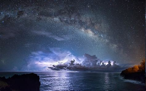 Nature Landscape Long Exposure Starry Night Milky Way