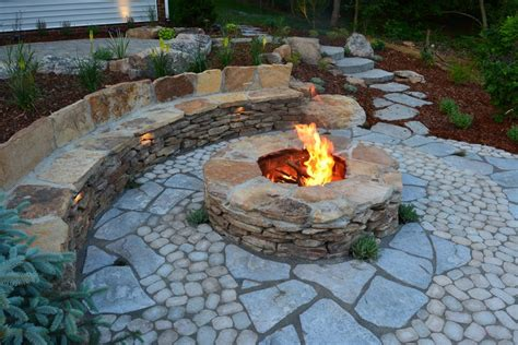 rustic pits richmond stone patio patio rustic with stone bench fire pits paver