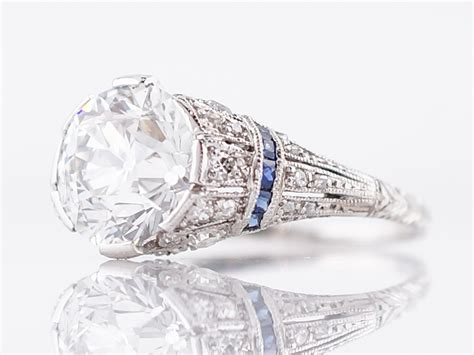 antique engagement ring edwardian early deco 2 72 european cut in platinum