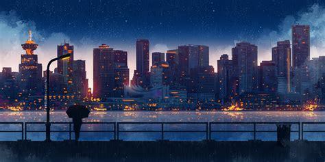 Anime Wallpaper City by Anime City Lights Umbrella Sky 5k Hd Artist