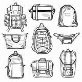 Fanny Vector Bags Bag Pack Backpack Sketches Bum Drawstring Messenger Cross Illustrations Backpacks Unisex Classic Case Clip Shopper Satchel Isolated sketch template