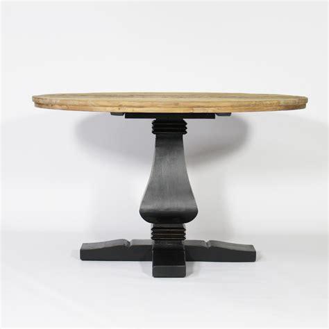 table ronde baroque pied central en bois noir noir
