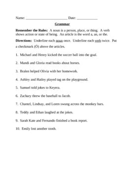 Grammar Worksheet  Nouns, Verbs, Articles By Rsmythe Tpt