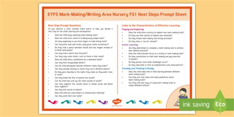 * New * Eyfs Markmakingwriting Area Nursery Fs1 Next Steps