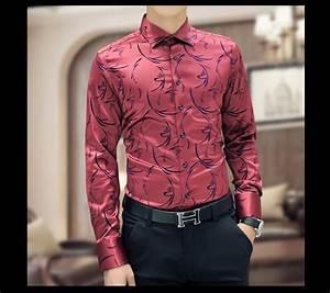 Luxury Brand Mens Formal Shirts Long Sleeve Floral Men