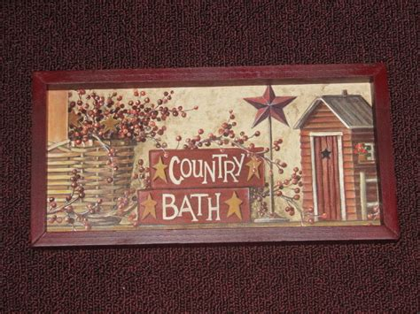 primitive country bath wall decor 6 inches x 12 inches ebay