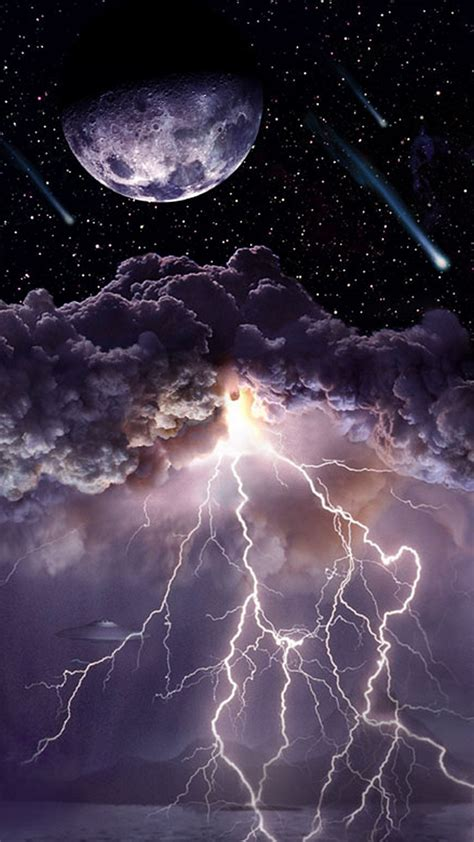 moon asteroids storm clouds lightning iphone 6 plus hd