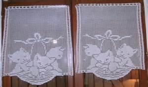 Modele Rideau Crochet Facile Gratuit by Chats Rideaux Au Crochet Filet Art Crochet Tricot Dentelle