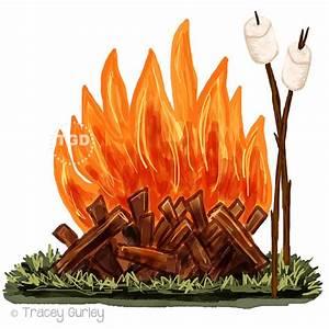 Campfire and Marshmallow Clip Art watercolor Clip Art