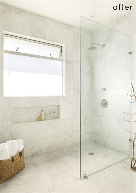 walk  standing shower  glass wall   door