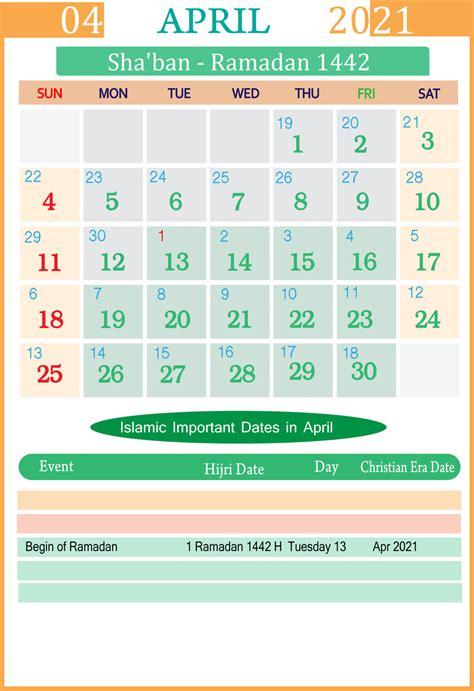 islamic calendar  april seg