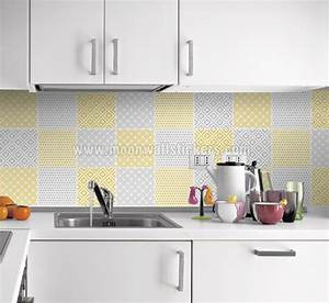 cover tiles stickers yellow pattern With stickers pour carrelage cuisine