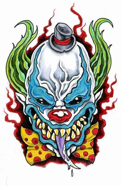 Clown Tattoo Evil Drawings Tattoos Joker Scary