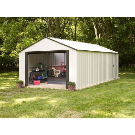 roll up garage doors for sheds arrow murrayhill vinyl coated steel shed 12 w x 17 l with roll up garage door ebay