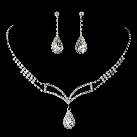 rhinestone covered necklace earring jewelry set