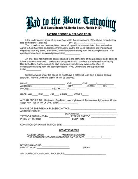 tattoo liabilty waiver form florida