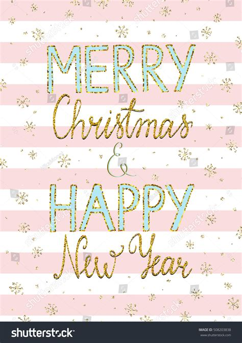 merry christmas happy  year lettering stock vector