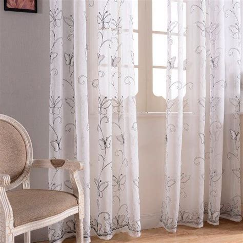 top finel embroidered butterfly voile window