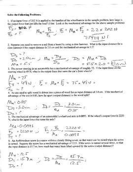 Physics  Mechanical Advantage Worksheet By Galen West Tpt