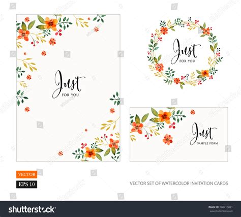 Vector Set Of Invitation Cards With Watercolor Flowers