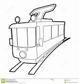 Tram Outline Icon sketch template