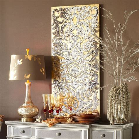 champagne mirrored mosaic damask wall panel color