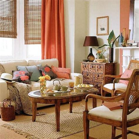 curtains orange  living room  wood blinds