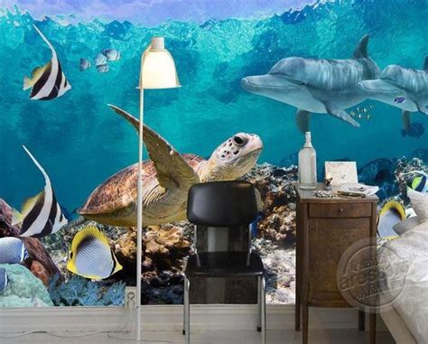 wallpaper underwater fish turtle dolphin wall mural