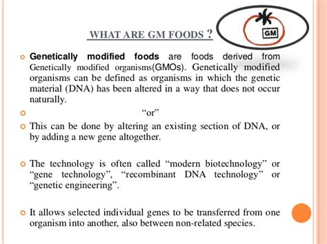 Modified Product Definition by Genetically Modified Foods