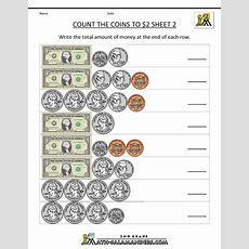 Counting Coins Worksheets 2nd Grade  2nd Grade Money Worksheets Count The Coins To 2 Dollars 2