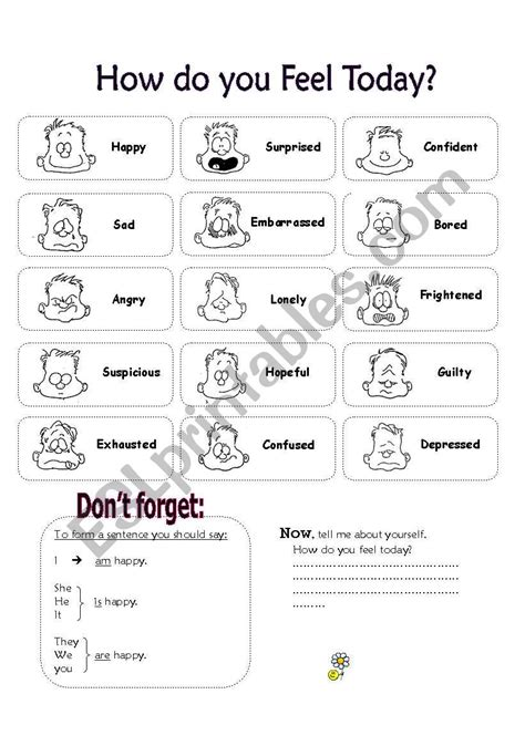 worksheets how do you feel today