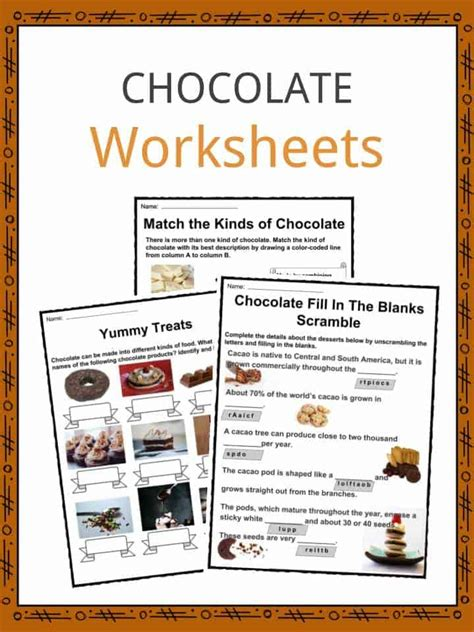 chocolate facts worksheets origin types history for