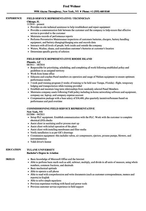 representative field service resume sles velvet