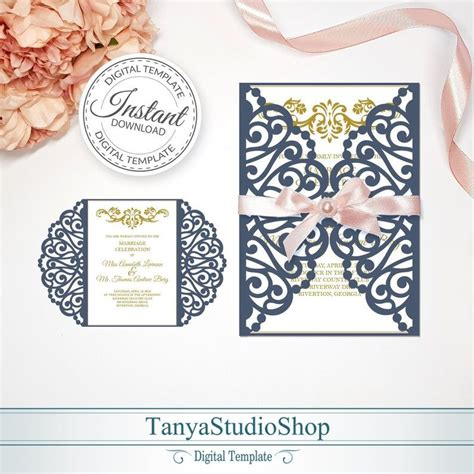 Gate fold 5x7'' invitation template SVG ai CRD Etsy in