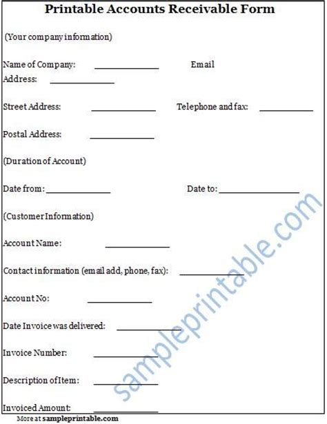 accounts receivable form accounts receivable form printable accounts receivable