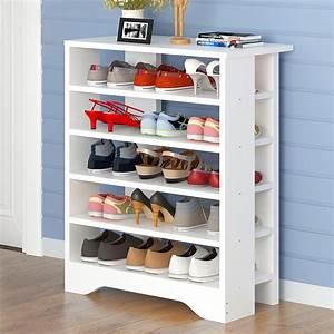 Spacious, U0026, Stylish, 6, Tier, Wooden, Shoe, Rack, Organizer, Walnut