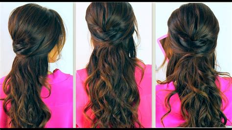 cute   school hairstyles everyday prom curly   updos  medium long hair tutorial
