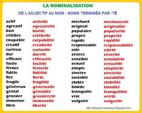 la nominalisation de l adjectif au nom liste de noms et exercices fle grammaire pinterest