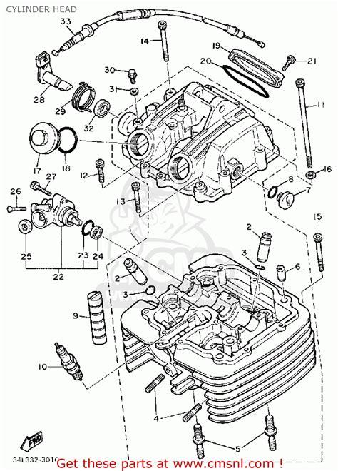 yamaha xt600 dual purpose 1986 g usa cylinder schematic partsfiche