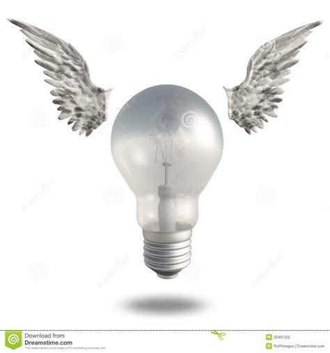 light bulb and wings stock photography image 33491252