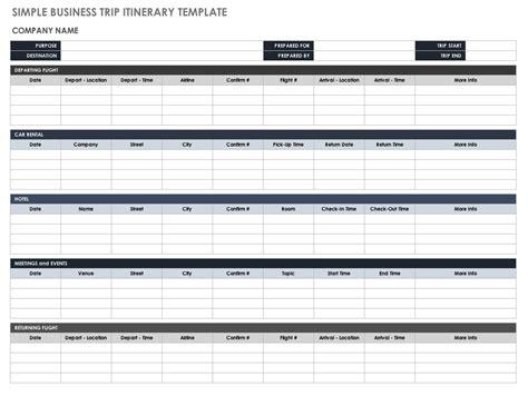 Trip Itinerary Template Free Itinerary Templates Smartsheet